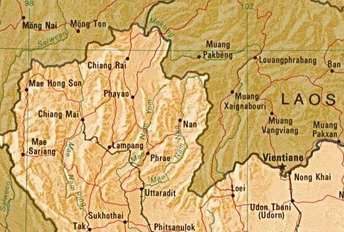map of laos and thailand. northern thailand and laos