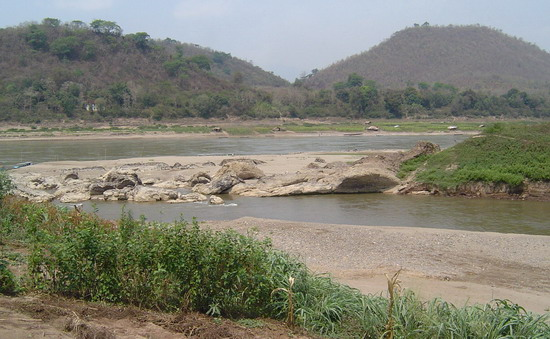the junction of the Mekong and Khan Rivers at Luang Prabang, March 2006