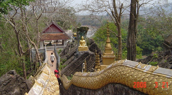 the stairs to the Buddha footprint