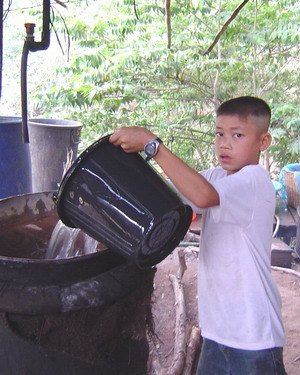 boy making rice wine