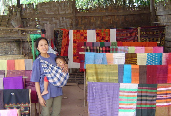 lady with weaving and baby