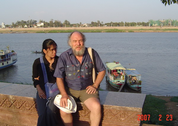 sitting in front of the Tonle Sap River