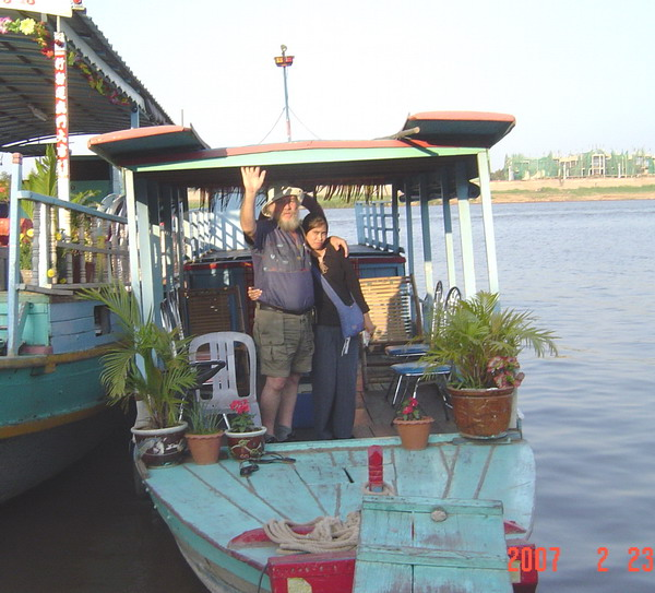 boarding our ride for the short tour of the Tonle Sap - Mekong Rivers Junction