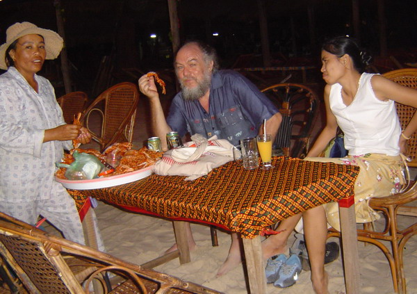 little lobsters and beer on Sihanoukville Beach