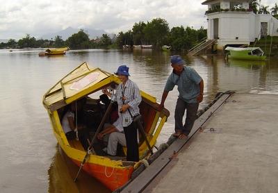 Ann getting on boat