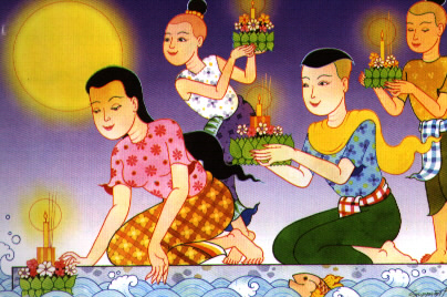 traditional loy gratong painting