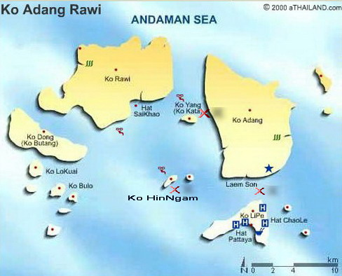 Lipe Island area diving-snorkelling map