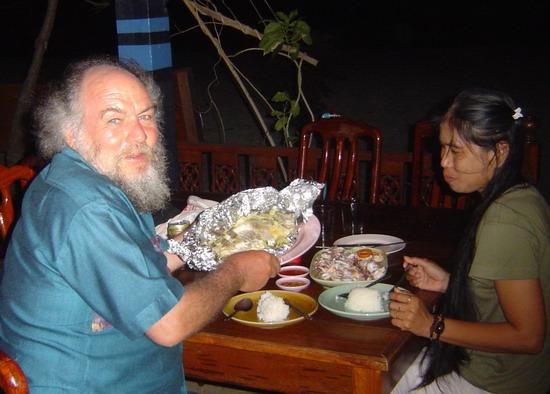 fish dinner at the Andaman Resort restaurant