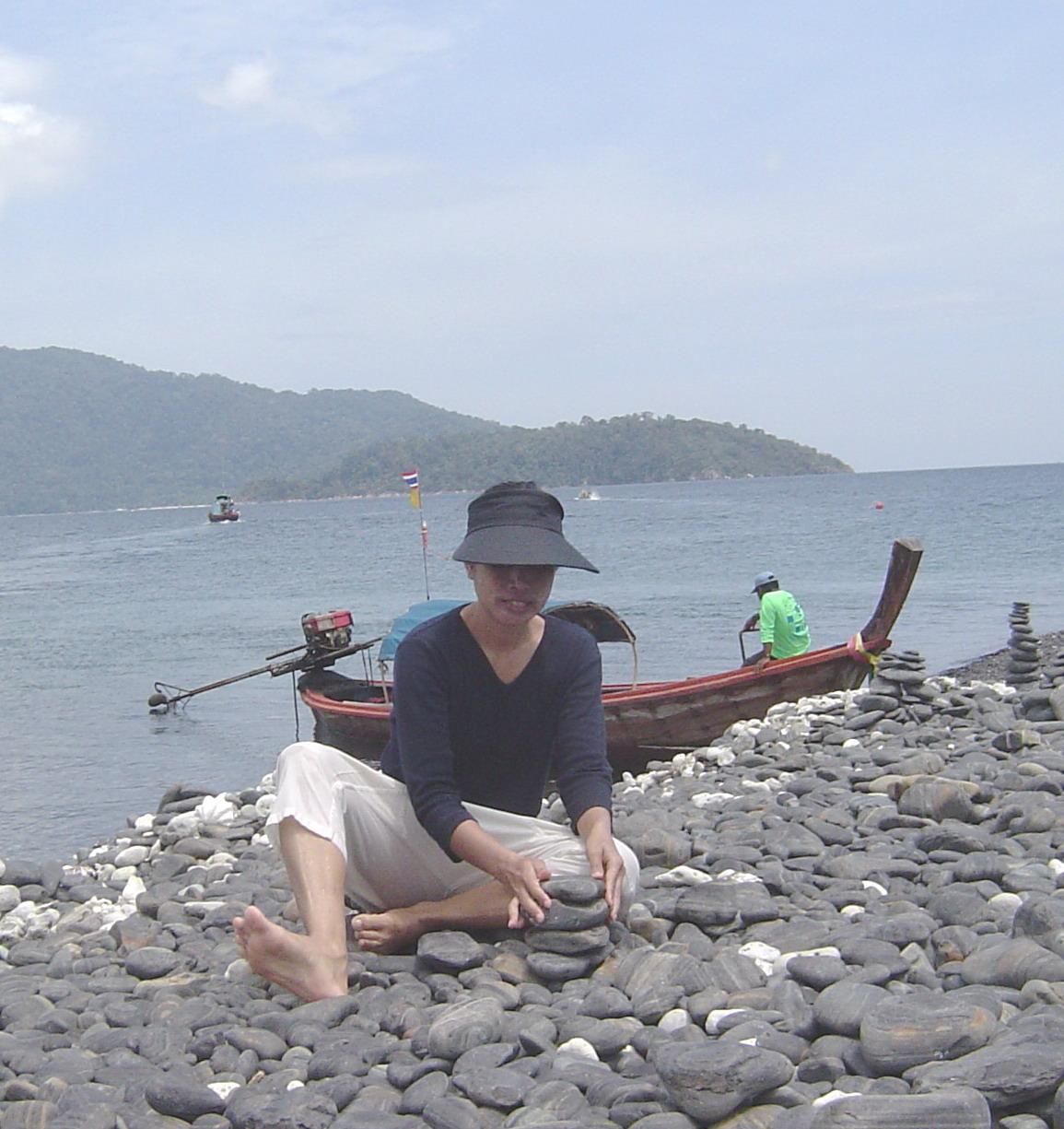 Ann making her rock pile