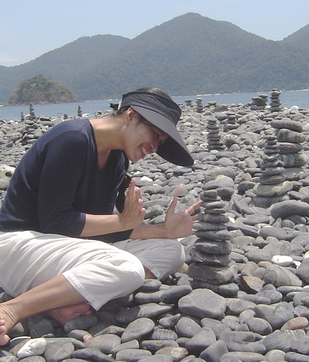Ann making her rock pile successfully