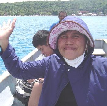 Ann in boat