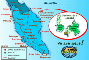 map of Malaysia, showing Perhentians