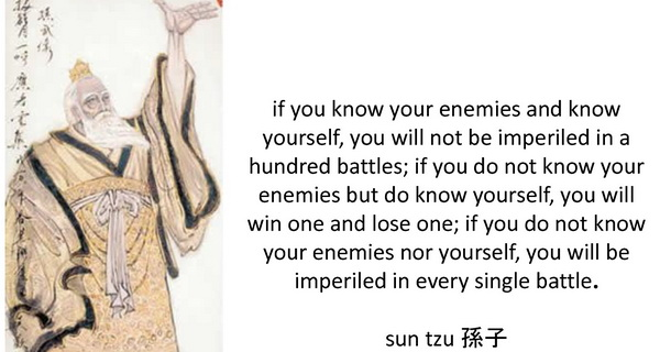know your enemy and yourself and you will lose no battles
