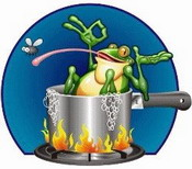 happy frog being boiled alive