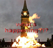 Canadian peace tower in flames?