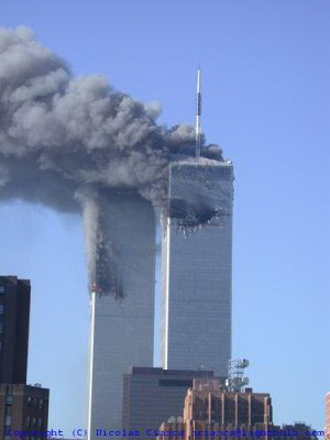 long distance shot of WTC fires