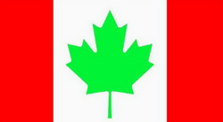 Canadian flag with green maple leaf